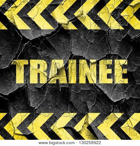 trainee, black and yellow rough hazard stripes