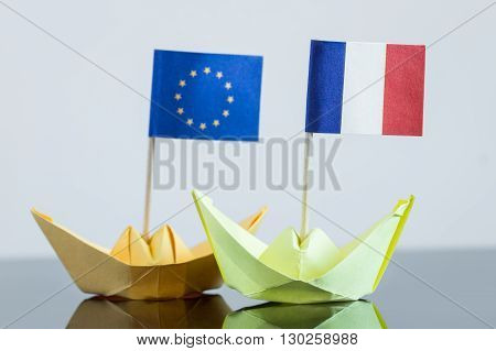 Paper Ship With French And European Flag