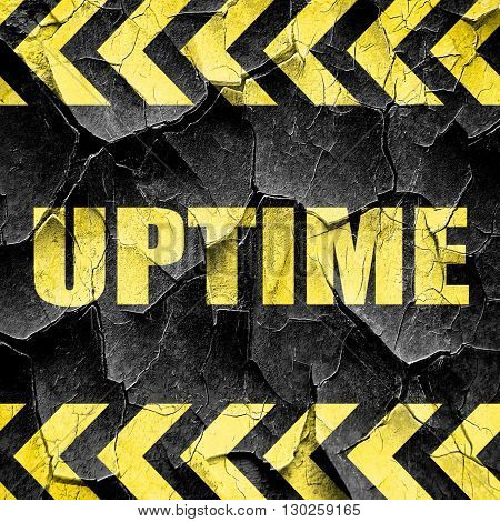 uptime, black and yellow rough hazard stripes