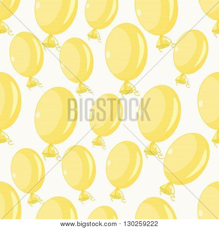 Inflatable Balloons Yellow On A White Background Seamless Pattern. Vector Illustration