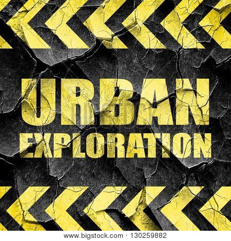 urban exploration, black and yellow rough hazard stripes