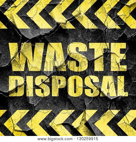 waste disposal, black and yellow rough hazard stripes