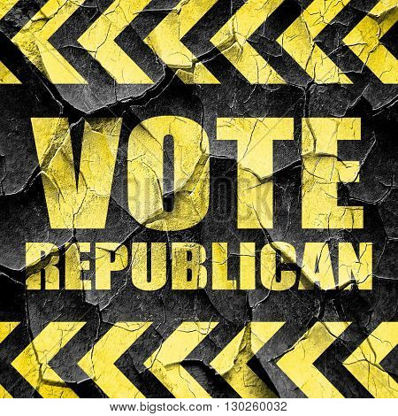 vote republican, black and yellow rough hazard stripes