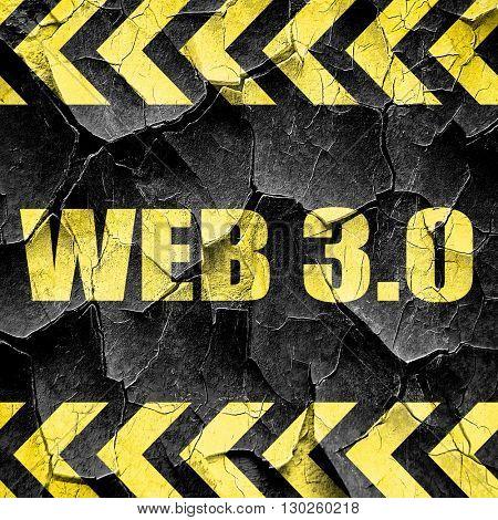 web 3.0, black and yellow rough hazard stripes