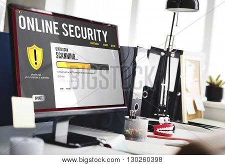 Online Security Technology Connection Graphics Concept