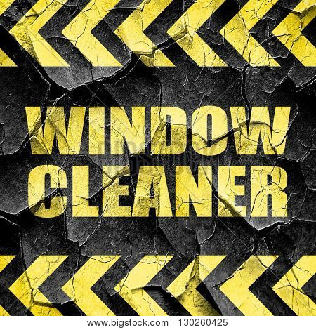 window cleaner, black and yellow rough hazard stripes