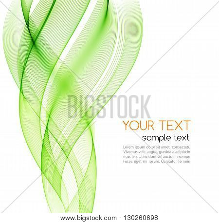 Vector Abstract color curved lines background. Template brochure design. Smoke lines. Abstract vector background, green transparent waved lines for brochure, website, flyer design.  Green smoke wave. Green wavy background