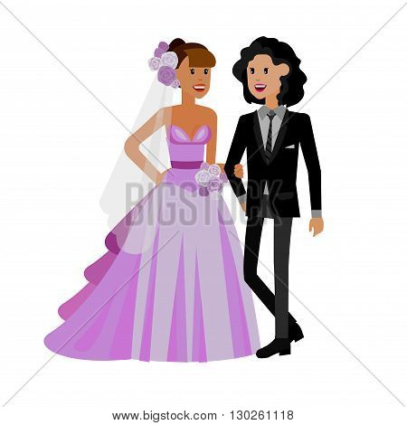 Nontraditional family. Happy cute wedding gay lesbian homosexual couple. Cool gay wedding character flat illustration. Vector gay lesbian wedding. Gay lesbian  wedding