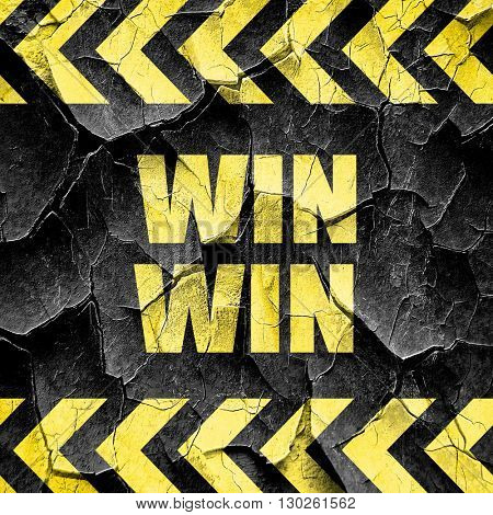win win, black and yellow rough hazard stripes