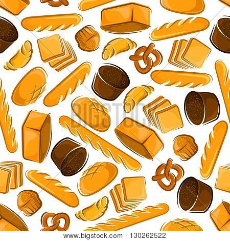 Seamless cartoon fresh baked bread pattern with butter cupcakes, croissants and sweet pretzels, healthfull dark rye and multigrain bread loaves, french baguettes and toasts on white background