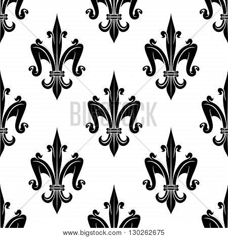 French royal fleur-de-lis seamless pattern background for heraldic theme or page fill design with elegant black and white victorian lilies, ornated by swirls