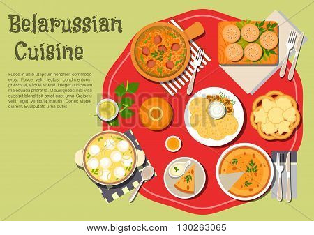 Traditional belarusian potato babka and potato pancakes draniki icon served with sour cream and fried mushrooms, thick soup with vegetables and dumplings and beef cabbage stew, sweet bagels and cookies with birch sap and kvass beverages. Flat style