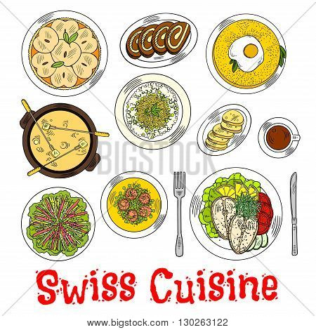 Swiss cheese fondue sketch symbol with croutons, potato rosti topped with fried egg and risotto with cheese, steamed fish steaks and rainbow vegetable salad, green pea shrimps chowder, coffee with chocolate swiss rolls and apple tart