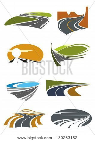 Road landscapes icons for travel theme and car trip design usage with mountain and coastal highways, country and desert roads with steep turns and forked crossing