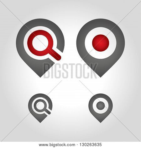 map pin icon and zoom shape design template elements