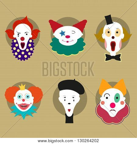 Six different circus men. Fun and creepy clowns. Circus men faces. Flat design