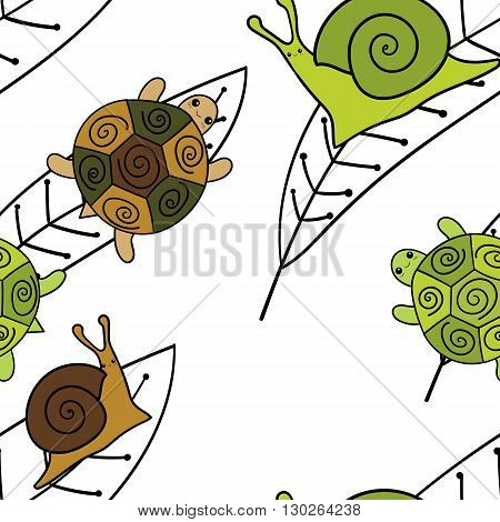Cute animals seamless pattern. Wallpaper Vector illustration. Colorfull Snails and turtles sitting on leaves. Green and brown.