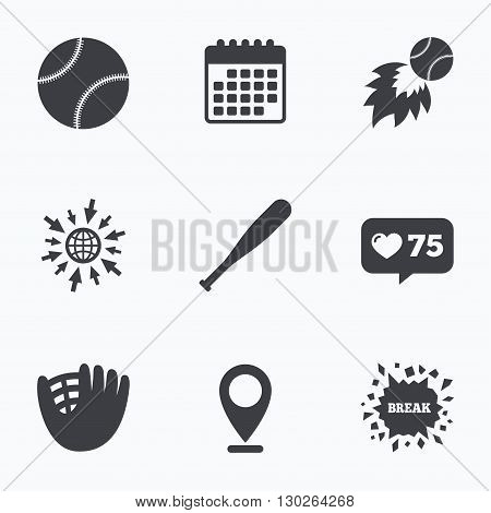 Calendar, like counter and go to web icons. Baseball sport icons. Ball with glove and bat signs. Fireball symbol. Location pointer.