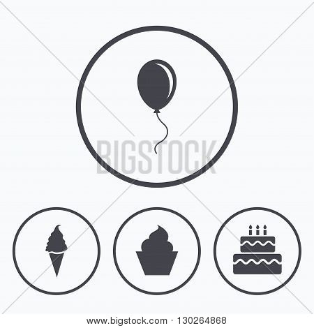 Birthday party icons. Cake with ice cream signs. Air balloon with rope symbol. Icons in circles.