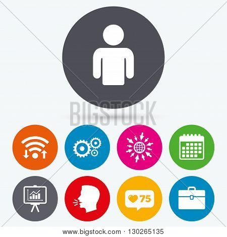 Wifi, like counter and calendar icons. Business icons. Human silhouette and presentation board with charts signs. Case and gear symbols. Human talk, go to web.