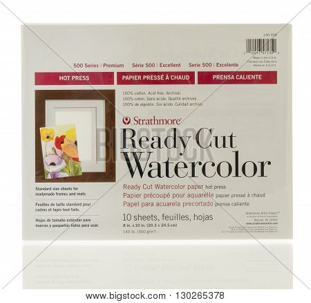 Winneconne WI - 18 May 2016: Package ready cut watercolor paper made by strathmore on an isolated background