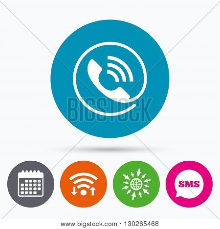 Wifi, Sms and calendar icons. Phone sign icon. Call support center symbol. Communication technology. Go to web globe.