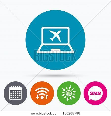 Wifi, Sms and calendar icons. Online check-in sign. Airplane symbol. Travel Flight tickets label. Go to web globe.