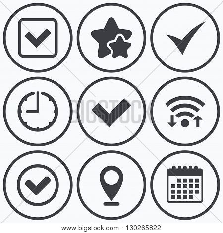 Clock, wifi and stars icons. Check icons. Checkbox confirm circle sign symbols. Calendar symbol.