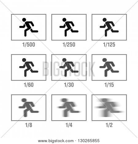 Photography cheat sheet, camera's manual in icons, Shutter Speed. Vector illustration.