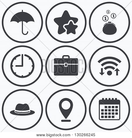 Clock, wifi and stars icons. Clothing accessories icons. Umbrella and headdress hat signs. Wallet with cash coins, business case symbols. Calendar symbol.