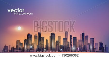 Urban night city skyline in moonlight or sunset