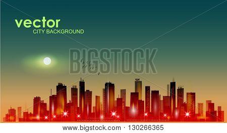 Modern night cityscape in moonlight or sunset