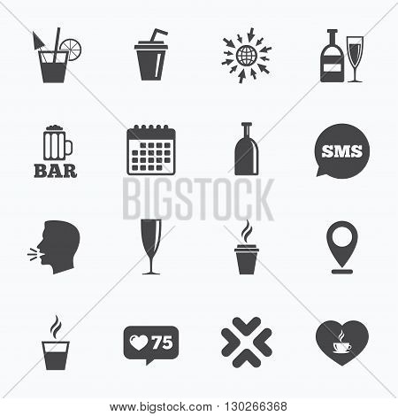 Calendar, go to web and like counter. Beer, coffee and tea icons. Beer, wine and cocktail signs. Soft and alcohol drinks symbols. Sms speech bubble, talk symbols.