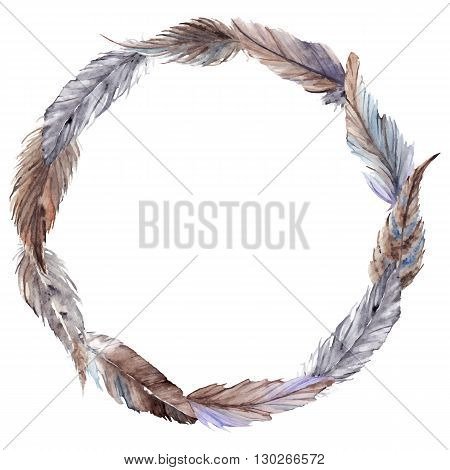 Watercolor brown gray grey feather wreath vector isolated