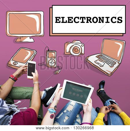 Electronics Gadget Connection Multi-tasking Concept
