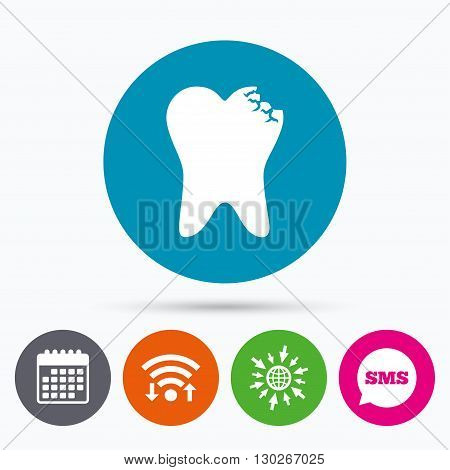 Wifi, Sms and calendar icons. Broken tooth icon. Dental care sign symbol. Go to web globe.