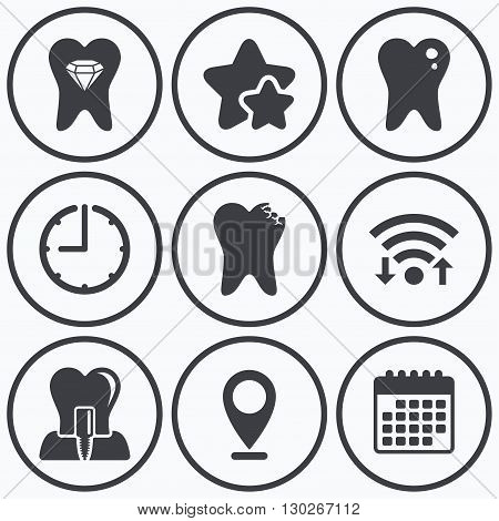 Clock, wifi and stars icons. Dental care icons. Caries tooth sign. Tooth endosseous implant symbol. Tooth crystal jewellery. Calendar symbol.