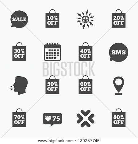 Calendar, go to web and like counter. Sale discounts icons. Special offer signs. Shopping bag, price tag symbols. Sms speech bubble, talk symbols.