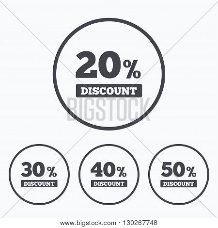 Sale discount icons. Special offer price signs. 20, 30, 40 and 50 percent off reduction symbols. Icons in circles.