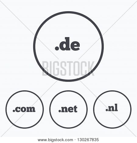 Top-level internet domain icons. De, Com, Net and Nl symbols. Unique national DNS names. Icons in circles.