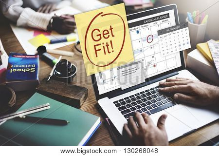 Get Fit Health Physical Training Schedule To Do Concept