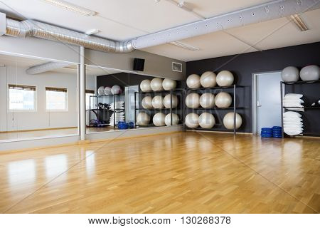 Yoga Balls Arranged In Shelves By Mirror