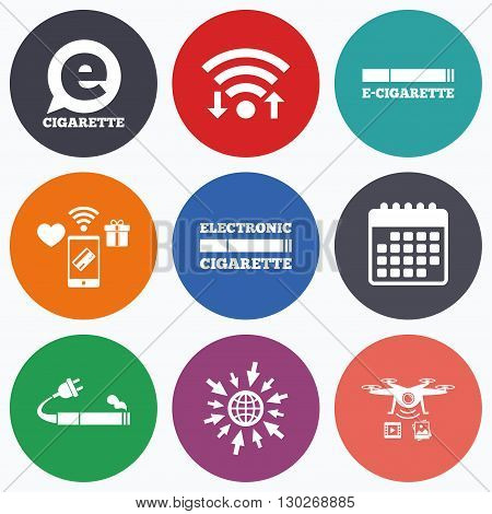 Wifi, mobile payments and drones icons. E-Cigarette with plug icons. Electronic smoking symbols. Speech bubble sign. Calendar symbol.