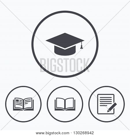 Pencil with document and open book icons. Graduation cap symbol. Higher education learn signs. Icons in circles.
