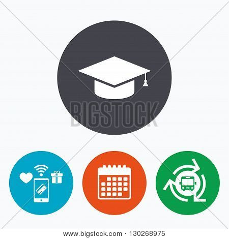 Graduation cap sign icon. Higher education symbol. Mobile payments, calendar and wifi icons. Bus shuttle.