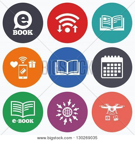 Wifi, mobile payments and drones icons. Electronic book icons. E-Book symbols. Speech bubble sign. Calendar symbol.