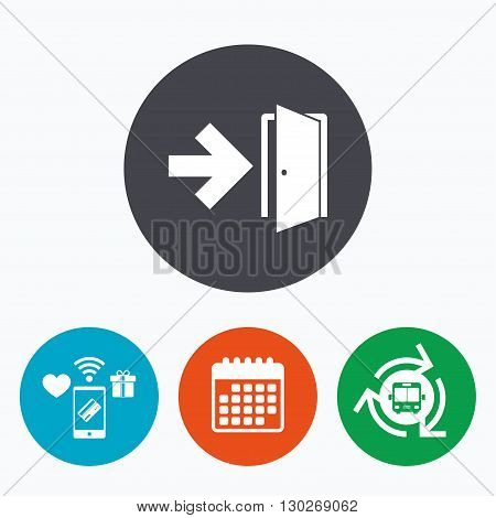 Emergency exit sign icon. Door with right arrow symbol. Fire exit. Mobile payments, calendar and wifi icons. Bus shuttle.