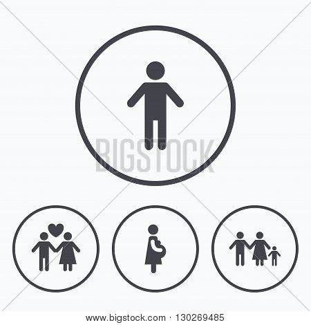 Family lifetime icons. Couple love, pregnancy and birth of a child symbols. Human male person sign. Icons in circles.