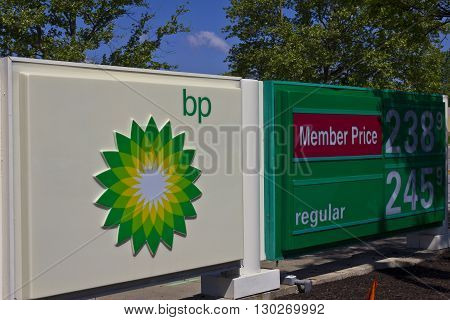 Indianapolis - Circa May 2016: BP Retail Gas Station. BP is One of the World's Leading Integrated Oil and Gas Companies I