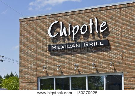 Indianapolis - Circa May 2016: Chipotle Mexican Grill Restaurant. Chipotle is a Chain of Burrito Fast-Food Restaurants VIII